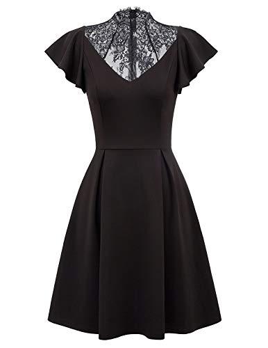 Women's Black Dresses A Line Midi Puffy Swing Cocktail Party Wedding (M, Black) ()