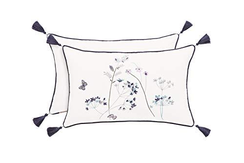 Five Queens Court Brenda Floral Motif Embroidered Tassel Boudoir Pillow, White