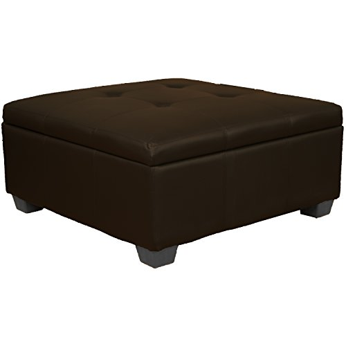 Tufted Leather Storage Ottoman (36
