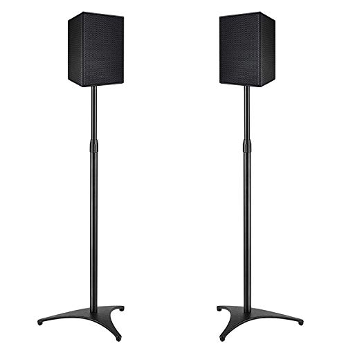 PERLESMITH Speaker Stands Extend 30-45 Inch with Upgraded Cable Management, Hold Satellite, Small Bookshelf & Bluetooth Speakers up to 8lbs(i.e. Vizio, Polk, Bose, JBL, Sony & Samsung) -1 Pair (PSSS1)