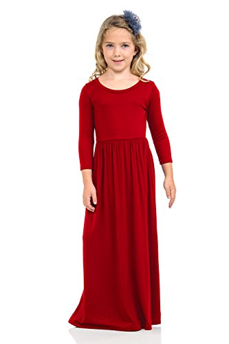 Girls Pink Jersey Dress - Honey Vanilla Girls' Fit and Flare Maxi Dress with Easy Removable Label Small / 5-6 Years Red