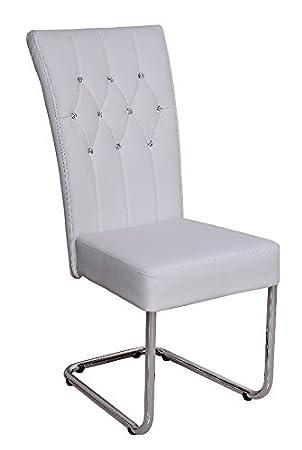 Chaise Design Cuir Synthetique Blanc Avec Strass Et Pieds Acier Chromes
