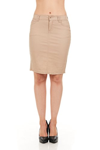 FGR Girl's Stertchy Cotton 5 Pocket Color Denim Skirt Khaki Size 12 by FGR (Image #10)