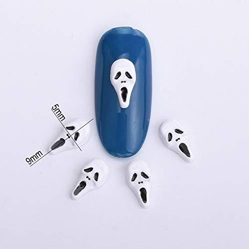 Kamas 10pcs Halloween decorations white black skull nail art decorations 3d alloy nail tools pedras para unha gel new supplies BL106 ()