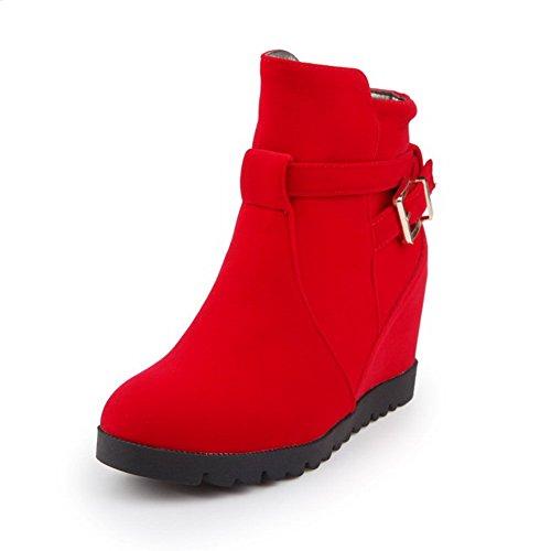 AllhqFashion Mujeres Plataforma Sólido Cremalleras Caña Baja Botas Rojo