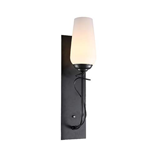 ZH Wall Lamp Wall Light American Country Simple Retro Frosted Glass Lampshade Paint Lamp Body Living Room Bedroom Corridor Aisle Wall Lamp, Black, W12cm H55cm