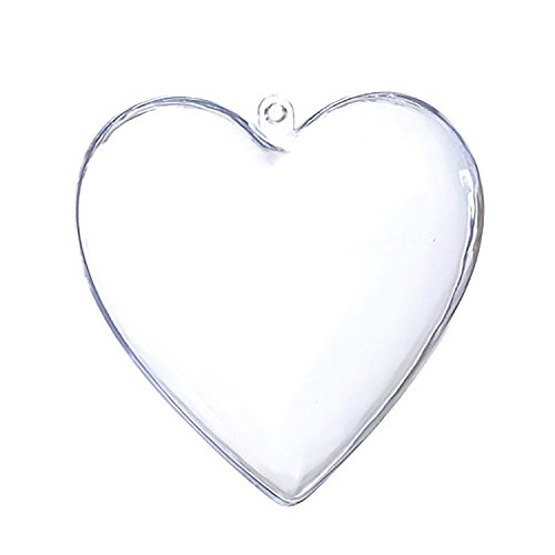 rescozy Pack of 10 Clear Plastic Acrylic Heart Shaped Fillable Ball Christmas Tree DIY Ornaments (100mm)