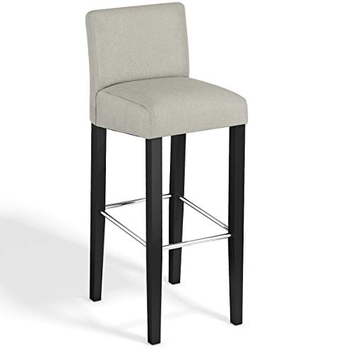 COSTWAY Bar Stool, Modern 40 Contemporary Bar Stool with Height Fabric Padded Backrests and Seats Barstools with Solid Wood Legs Pub Bistro Kitchen Dining Side Chair Beige, 1 Stool