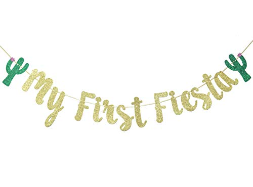 My First Fiesta Banner Sign Garland for Mexican Fiesta Themed Baby Shower First Birthday Party Decorations Photo Props Backdrop (Gold Glitter)]()