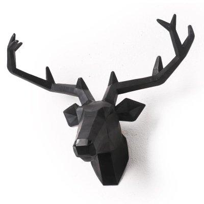 Deer Head Wall Sculpture Animal Head Wall Hanging Resin Deer Head Home Decor (Black, Large) lianxi industrial and trade