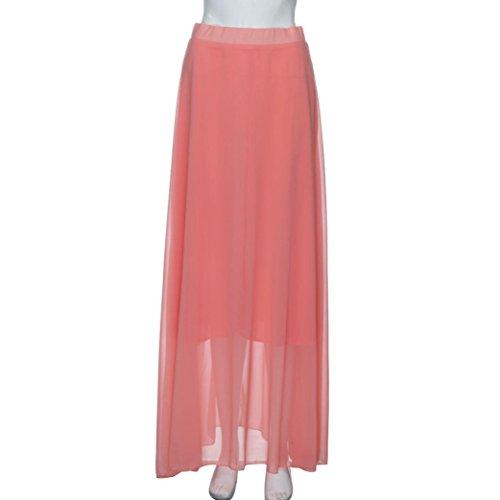 Faldas, Challeng Vestido de fiesta atractivo de la playa de la alta calidad del vestido de fiesta de la playa de la impresión vestido largo de gasa con cintura alta, cintura alta (m, amarillo) rosa