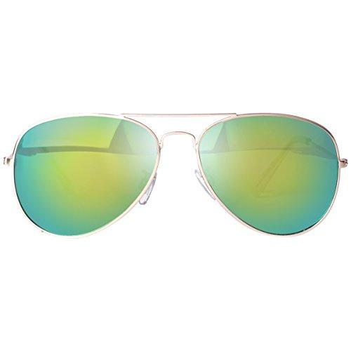 en Miroir lunettes Premium métal 85832 vivienfang Revo Cadre de aviateur Full lens Green Frame soleil Gold w8axCqUE