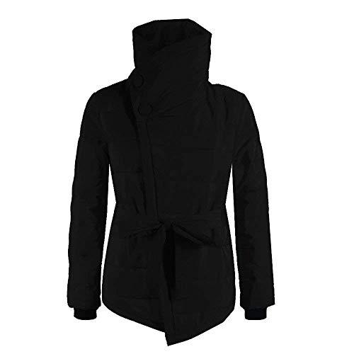 Fashion Outdoor Temporada Casual Coat Invierno Caliente Schwarz Sólidos Acolchada Colores Elegantes Chaqueta De Manga Largo Chaquetas Collar Outerwear Mujer Abrigos High Uw6qZUC
