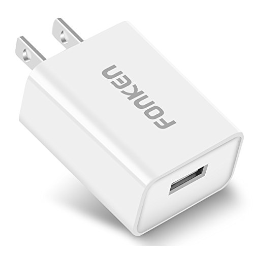 Quick Charge 3.0, FONKEN 18W USB Wall Charger Adapter with Smart IC for Compatible Samsung Galaxy S7 S6 Edge, Note 5/4, LG G5 V10, Nexus 6,HTC 10, Qualcomm Certified, Comply with UL 60950-1 (White)