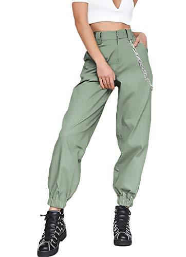 Monocromo Larghi Cose Waist High Fit Pants Hip Verde Fashion Unique Primaverile Estivi Baggy Donna Stlie Hop Fresco Slim Casual Harem Pantaloni Pantalone BSRq8H