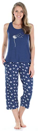 Sleepyheads Women's Sleepwear Jersey Lightweight Tank Top and Capri Pajama Set (SH1832-5035-2X)