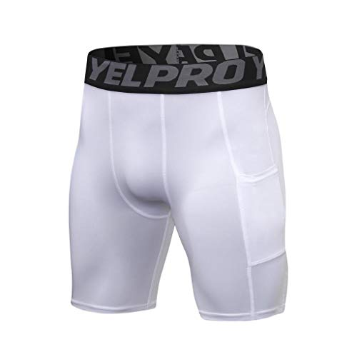 terbklf Men's Solid Gym Workout Shorts Bodybuilding Running Fitted Training Jogging Short Pants with Pocket 5 Colors White