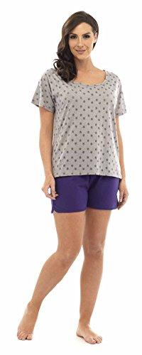 Mujer Algodón De Jersey Pijama Shorts Set / Ropa Cómoda Gris Top