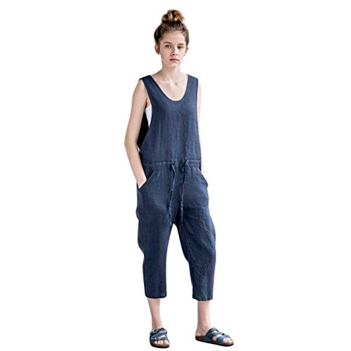 QIQIU Womens Loose Linen Jumpsuit Lace-up V-Neck Casual Garden Wide Leg Long Trousers Summer Rompers ()