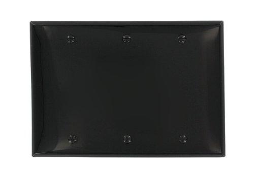 Leviton 80735-E 3-Gang No Device Blank Wallplate, Standard Size, Thermoplastic Nylon, Box Mount, Black