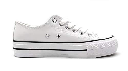 Zapatillas-Blanca-Negra-Mujer-con-Plataforma-Polipiel-Zapatillas-Suela-Doble-Zapatillas-Bambas-Deportivas-Plataforma-Mujer