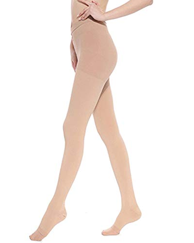 Song Qing Women Compression Pants Stockings 30-40 mmHg Socks for Pregnancy Sports Travel Varicose Veins Pantyhose (Beige,Open Toe) ()