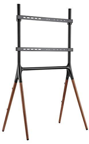 "Displays2go Sawhorse Artistic TV Stand, 49"" - 70"", Wooden Legs - Black/Walnut (ARTTV70B)"