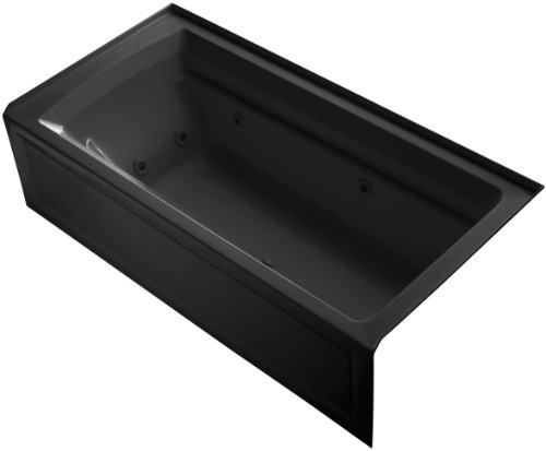 (Kohler K-1124-HR-7 Archer 6Ft Whirlpool with Comfort Depth Design, Integral Apron, Right-Hand Drain and Heat, Black)