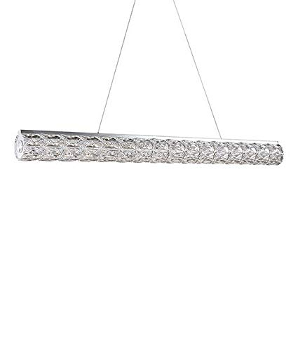 Pendant in Chrome with Linear Crystal Cylindar shade