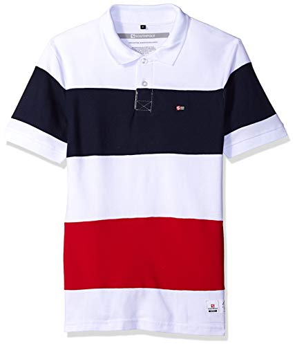 Southpole Mens Short Sleeve Stripe Polo Shirt