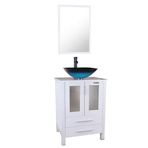24' Bathroom Vanity Set - U-Eway 24'' White Bathroom Vanity Square Tempered Glass Vessel Sink Combo 1.5 GPM Faucet Oil Rubbed Bronze Bathroom Vanity Top with Sink Bowl, 20'' Deep and 30% Water Saving