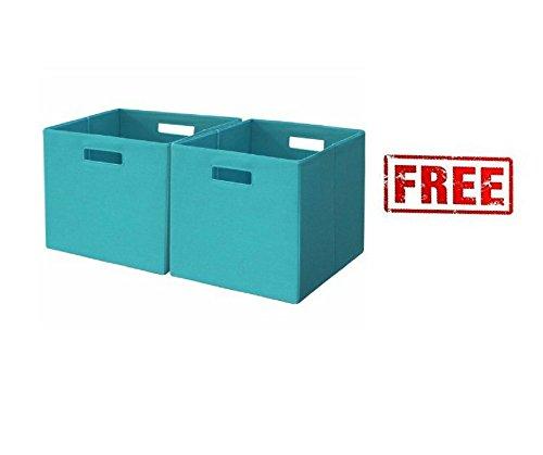 Better Homes and Gardens Bookshelf Square Storage Cabinet 6-Cube Organizer White with Set of 2 Fabric Storage Bin Cream