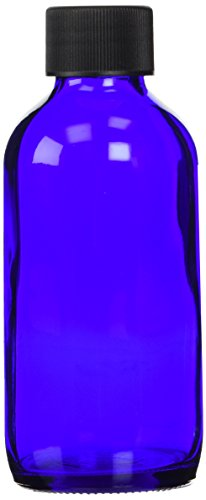 Cobalt Blue Boston Round Bottle with Cap - 4 oz, 6 ct,(Frontier) by Frontier Accessories