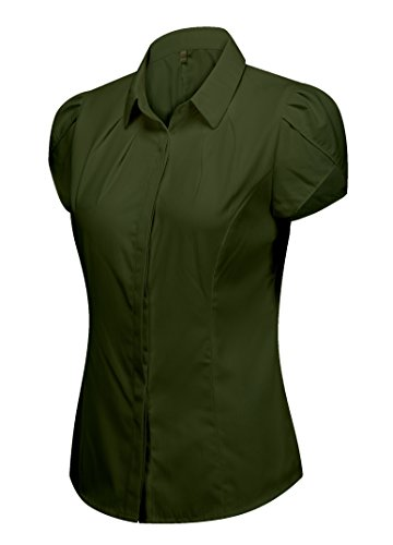 Cotton Classic Fitted Blouse - DkaoE Women's Cotton Pleated Button Down Work Shirt Short Sleeve Blouse Army Green 6