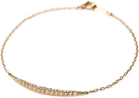 「eclairer-エクレレ-」 天然ダイヤ0.1ct × K18ピンクゴールド 煌めくカーブブレスレット(K18ピンクゴールド, 15.0cm)