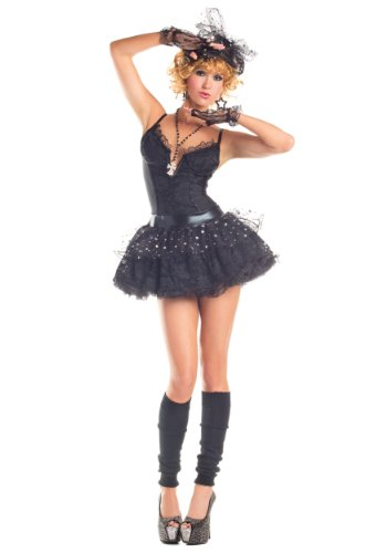 [Party King Material Pop Star Women's 4 Piece Costume Dress Set, Black, Small] (Womens Material Pop Star Costumes)