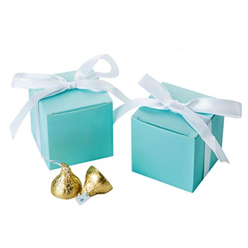 AWELL Mint Green Gift Candy Box Bulk 2x2x2 inches with White Ribbon Party Favor Box,Pack of 50