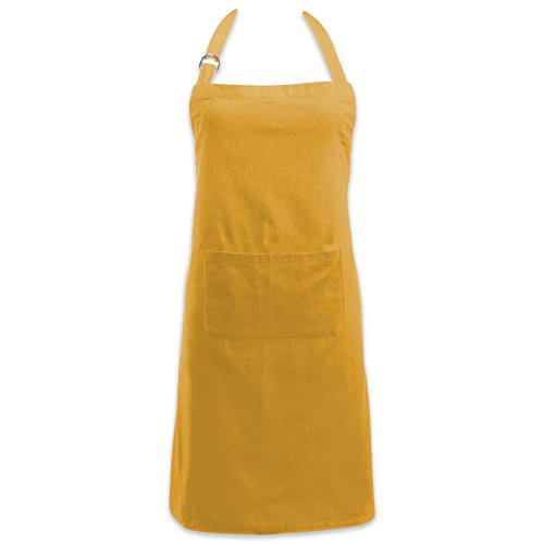 - DII Cotton Adjustable Kitchen Chef Apron with Pocket and Extra Long Ties, 32 x 28, Commercial Men & Women Bib Apron for Cooking, Baking, Crafting, Gardening, BBQ-Mustard