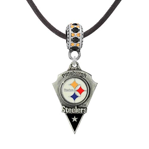 """Final Touch Gifts Pittsburgh Steelers Pendant on 17"""" Black Cord Necklace"""