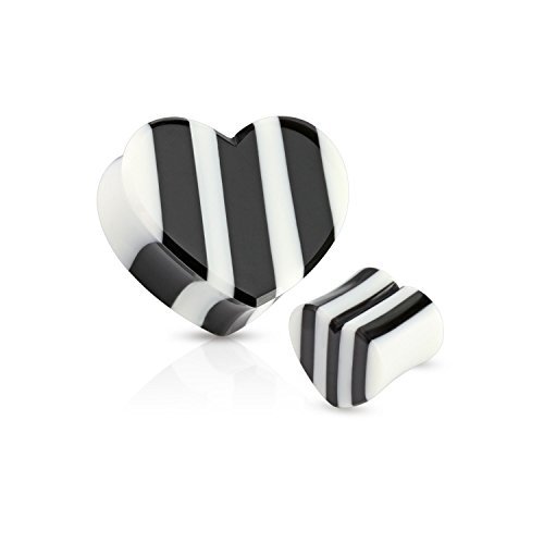 Striped White Horn (Black/White Striped Heart Organic Horn Saddle Fit Freedom Fashion Plug (Sold by Pair))