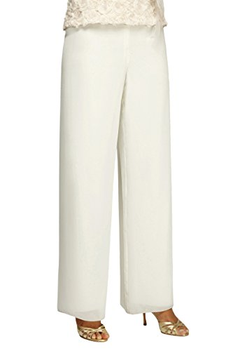 Alex Evenings Women's Chiffon Dress Pants, Ivory, M