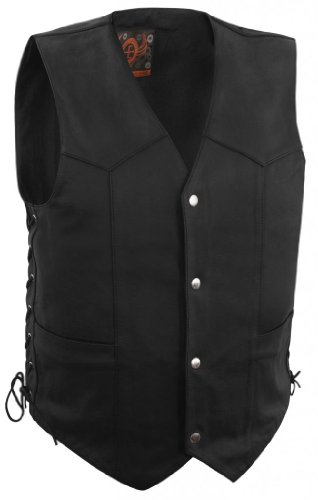 True Element Mens Basic Side Lace Adjustment Leather Motorcycle Vest (Black, X-Large)