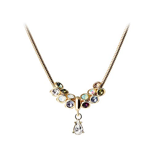 - Martine Wester Necklace Colorful Crystal from Swarovski Drop Pendant Adjustable Snake Chain Plated Silver Luxurious Classy Jewelry for Women
