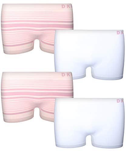 (DKNY Girl\'s Nylon/Spandex Seamless Boyshort Hipster Panties (4 Pack) (Large / 12-14, White/Pink Stripes)')