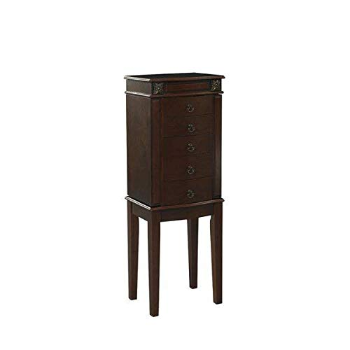 Free Standing Wooden Jewelry Armoire with Mirror, Cherry + Free Basic Design Concepts Expert Guide