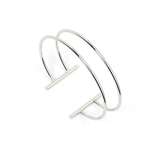 Double Layer Hollow Geometry Parallel T type Bangle Bracelet,Gold Silver Opening adjustable C-type Copper Cuff Bangle for Women Girls Christmas Gifts (Silver)