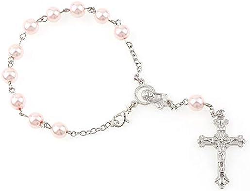 8Mm Colorido Vidrio Perlas Perlas Pulsera Rosario con Langosta De Plata Hecha Metal Maria Centro Y Jesús Crucifijo Cruz Colgantes