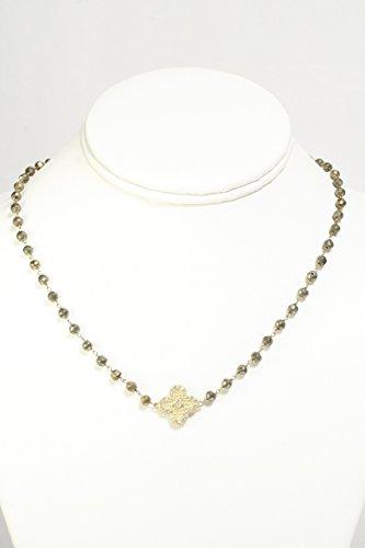 Gold Vermeil Clover Charm Choker with Pyrite (Gold Vermeil Clover)