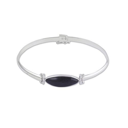 - NOVICA Obsidian .925 Sterling Silver Bangle Bracelet 'Fantastic Eye'