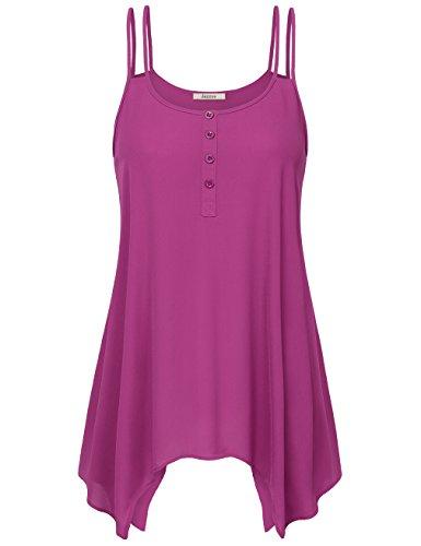 Casual Camisole for Women,Jazzco Sleeveless Asymmetrical High Low Flowy Tank Top (Wine,Medium)